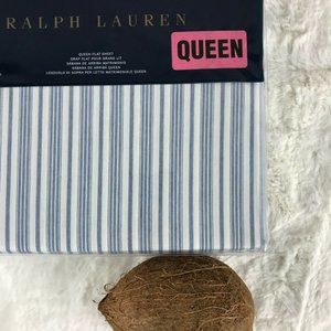 RL Isleboro McKensie Striped QUEEN Flat Sheet